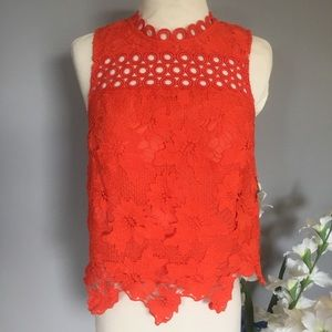 TOPSHOP embellished red-orange tank top